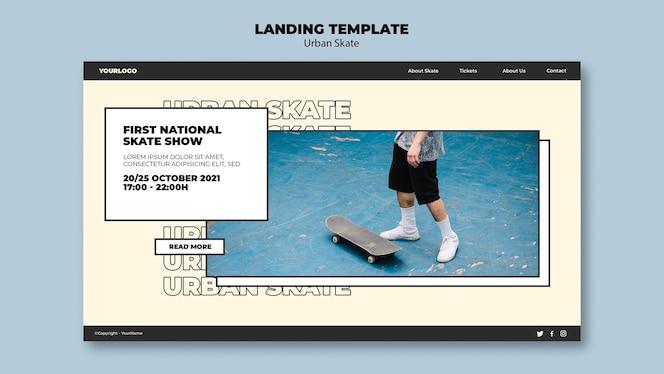 Modèle de page de destination du concept de skate urbain