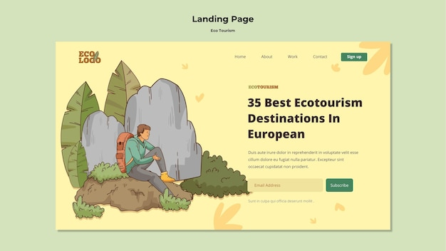 Modèle de page de destination du concept de tourisme écologique