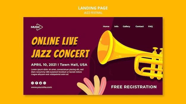 Modèle de page de destination du festival de jazz en direct en ligne
