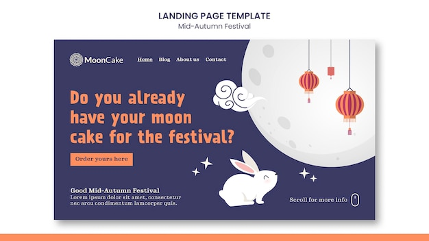 Modèle de page de destination du festival de la mi-automne
