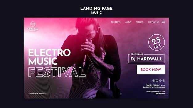 Modèle de page de destination du festival de musique électro