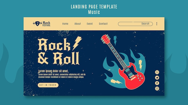 Modèle de page de destination du festival de musique rock
