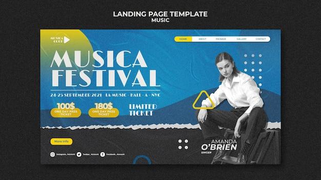 Modèle de page de destination du festival de musique