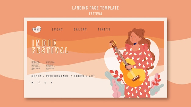 Modèle de page de destination du festival