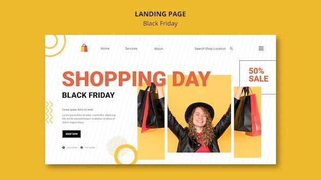 Modèle de page de destination du jour du shopping