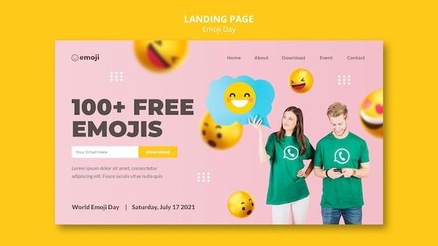 Modèle De Page De Destination Du Jour Emoji PSD Premium