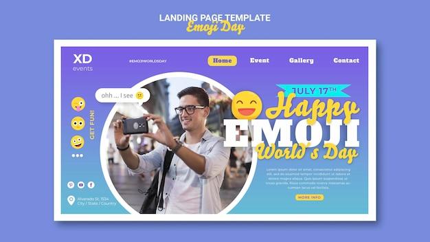 Modèle de page de destination du jour emoji