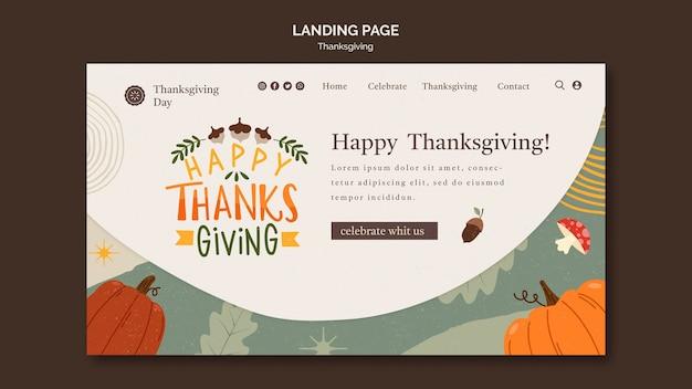 Modèle de page de destination du jour de thanksgiving avec détails automnaux