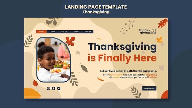 Modèle de page de destination du jour de thanksgiving avec des feuilles