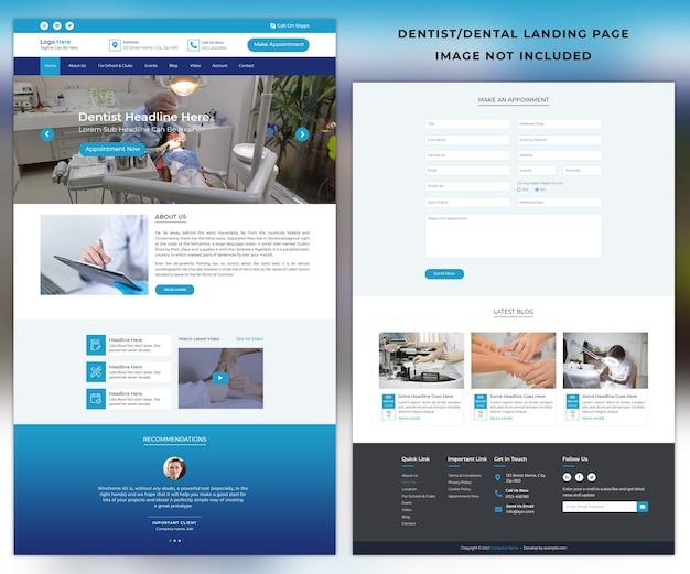 Modèle de page de destination du médecin dentiste dentaire