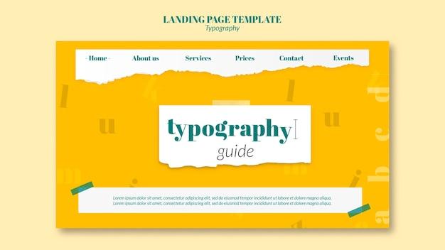 Modèle de page de destination du service de typographie