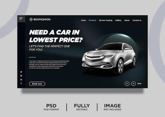 Modèle de page de destination du site web dark rent car