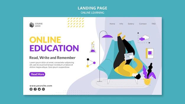 Modèle de page de destination e-learning illustré