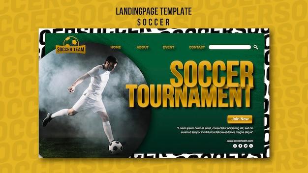 Modèle de page de destination de l'école de football de tournoi