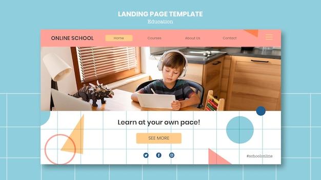 Modèle de page de destination de l'école en ligne