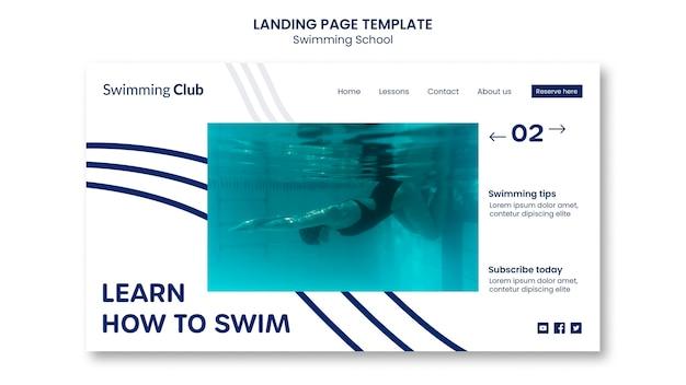 Modèle de page de destination de l'école de natation