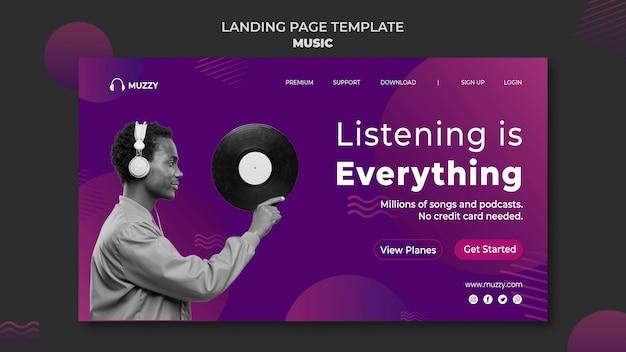 Modèle de page de destination d'écoute de musique