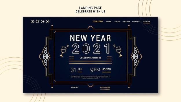 Modèle de page de destination élégant pour la fête du nouvel an