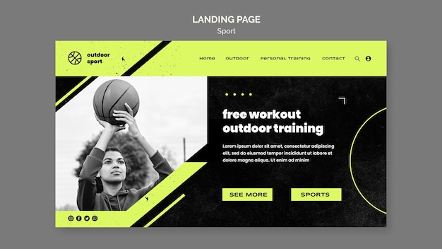 Modèle de page de destination d'entraînement gratuit