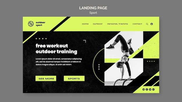 Modèle de page de destination d'entraînement en plein air gratuit