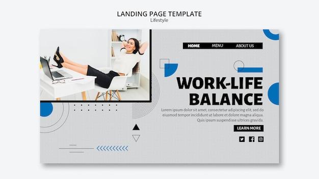 Modèle de page de destination sur l'équilibre travail-vie privée