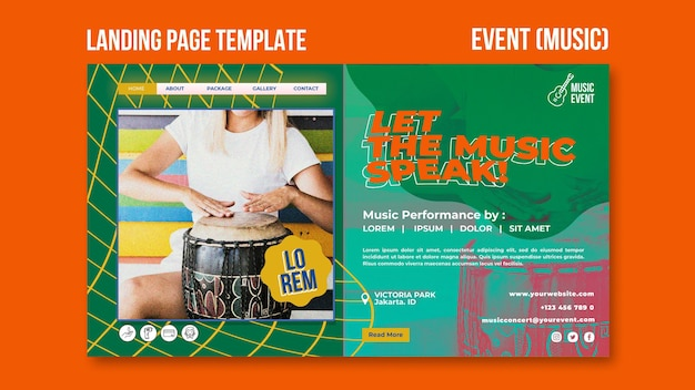 Modèle de page de destination d'événement musical