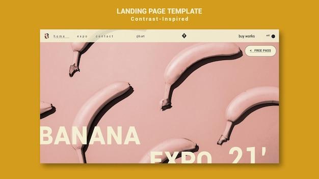 Modèle de page de destination d'exposition d'art inspiré du contraste
