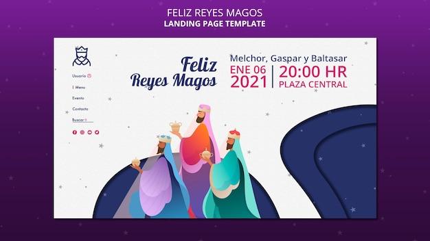 Modèle de page de destination feliz reyes magos