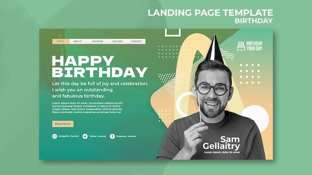 Modèle de page de destination de fête d'anniversaire