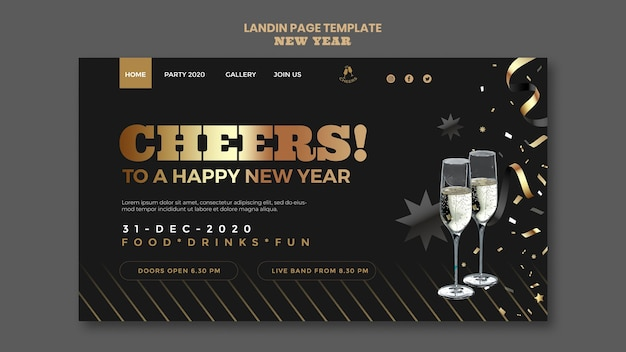 Modèle de page de destination de fête de bonne année