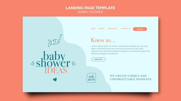 Modèle de page de destination de fête de douche de bébé
