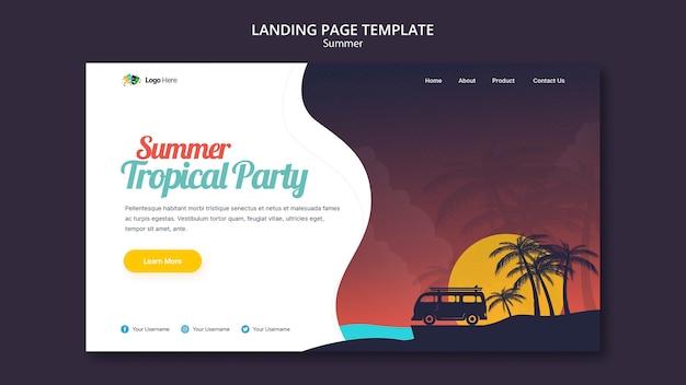 Modèle de page de destination de fête d'été