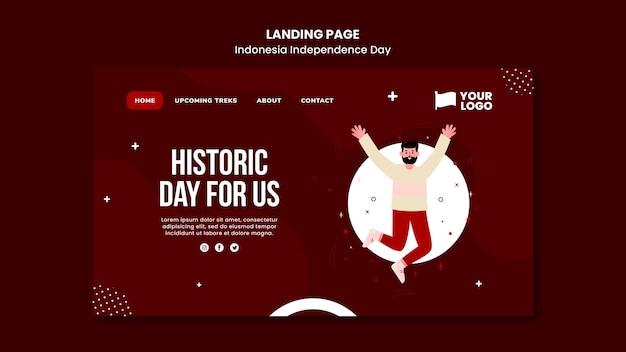 Modèle de page de destination de la fête de l'indépendance de l'indonésie