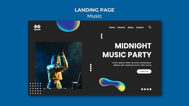 Modèle de page de destination de fête musicale
