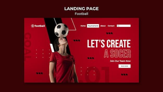 Modèle de page de destination de football féminin