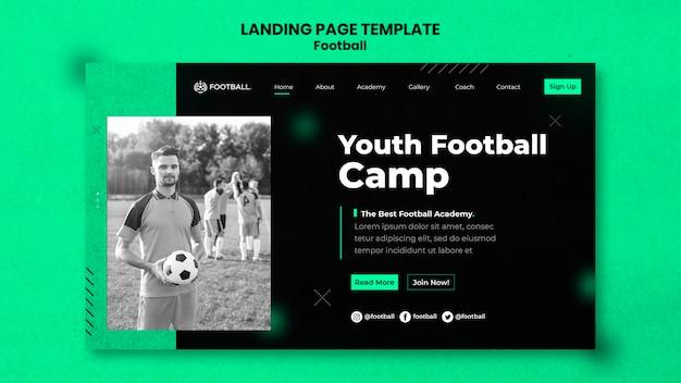 Modèle de page de destination de football