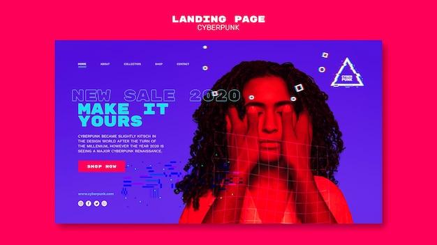 Modèle de page de destination futuriste cyberpunk