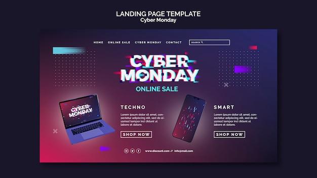 Modèle de page de destination futuriste du cyber lundi