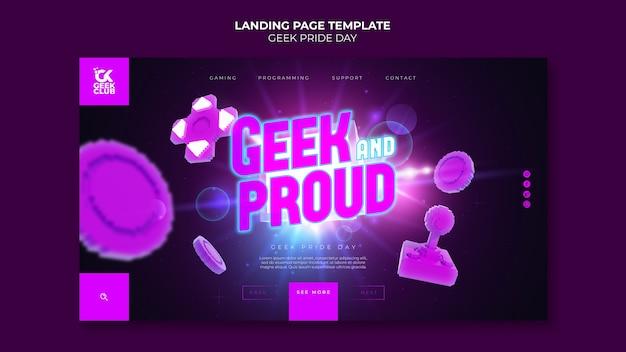 Modèle de page de destination geek pride day