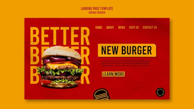 Modèle de page de destination de hamburger grunge