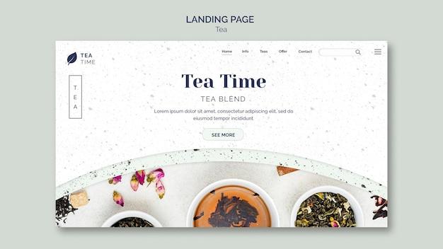Modèle de page de destination avec l'heure du thé
