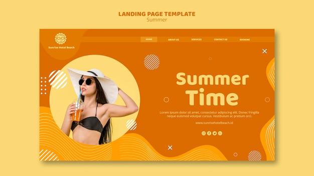 Modèle de page de destination avec l'heure d'été