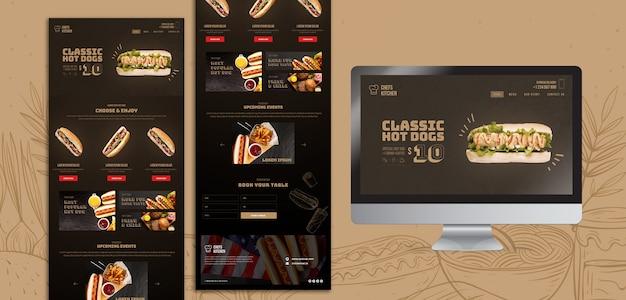 Modèle de page de destination de hot dogs américains