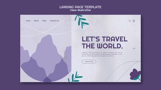 Modèle De Page De Destination Illustrative Propre Psd gratuit