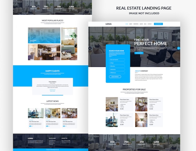 Modèle de page de destination immobilière