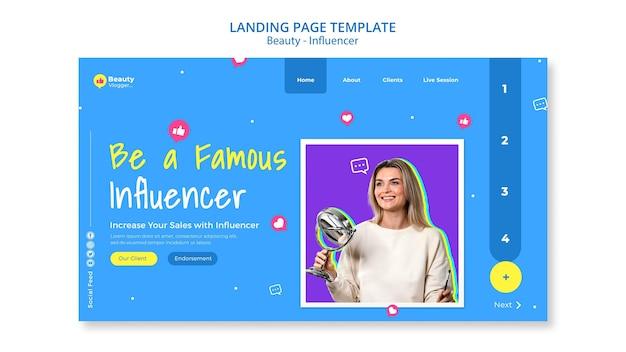 Modèle de page de destination d'influenceur célèbre