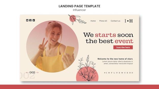 Modèle de page de destination d'influenceur avec photo