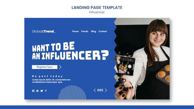 Modèle de page de destination d'influenceur