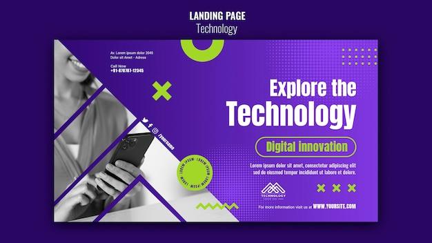 Modèle de page de destination d'innovation technologique