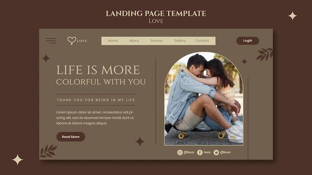 Modèle de page de destination de joli couple